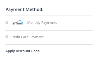 Select Affirm Payment Method During Checkout