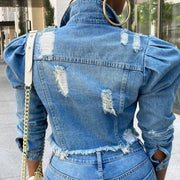 Puff Sleeve ripped Jeans Jacket