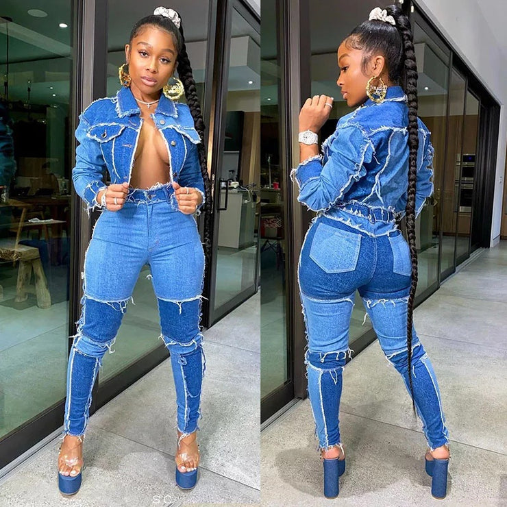 High waist Denim Pants set