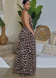 Leopard print overall jumpsuit