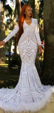 Customized Long Sleeve Sequin African Feather Prom Dress