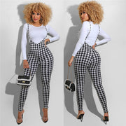 Plaid suspender jumpsuit