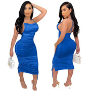 Sleeveless bodycon silk dress