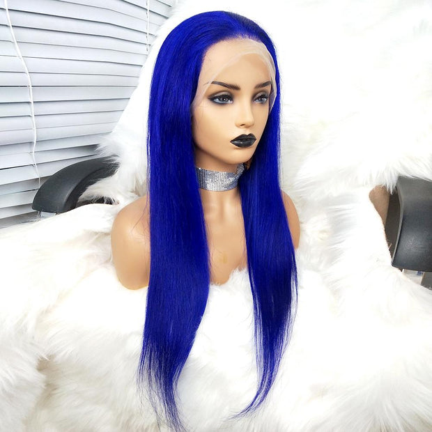 Blue straight hair lace wig