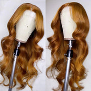 Honey Blonde body wave transparent lace wig