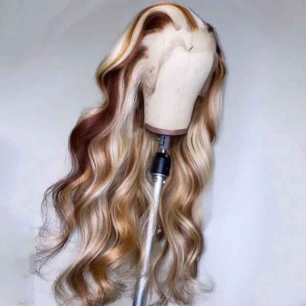 Highlight 613 Honey Blonde Body Wave Colored Wig HD Transparent Lace