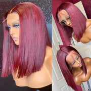 Straight Burgundy blunt cut bob wig