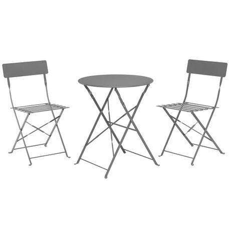 3 Piece Bistro Metal Chairs And Table Mat light grey Snatcher Online Shopping South Africa