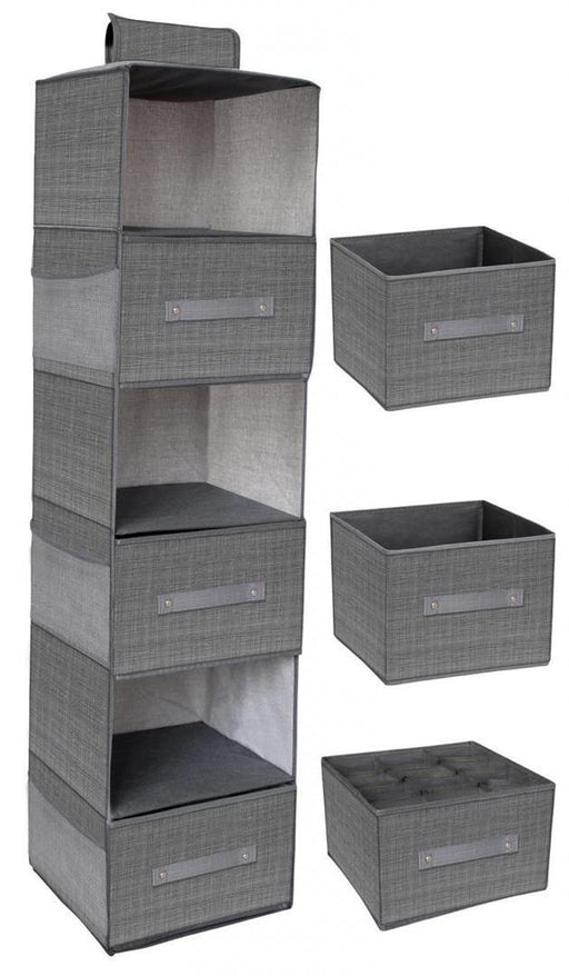 6 Layer Hanging Organiser With 3 Drawers Dark Grey Snatcher Online Shopping South Africa