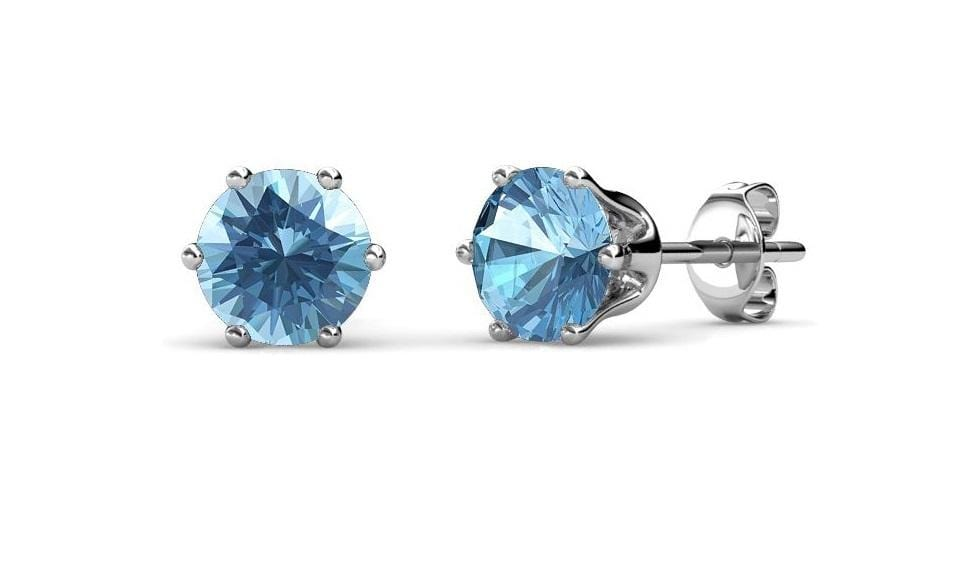 Destiny Birthstone March Aquamarine Earrings with Swarovski Crystals Snatcher Online Shopping South Africa