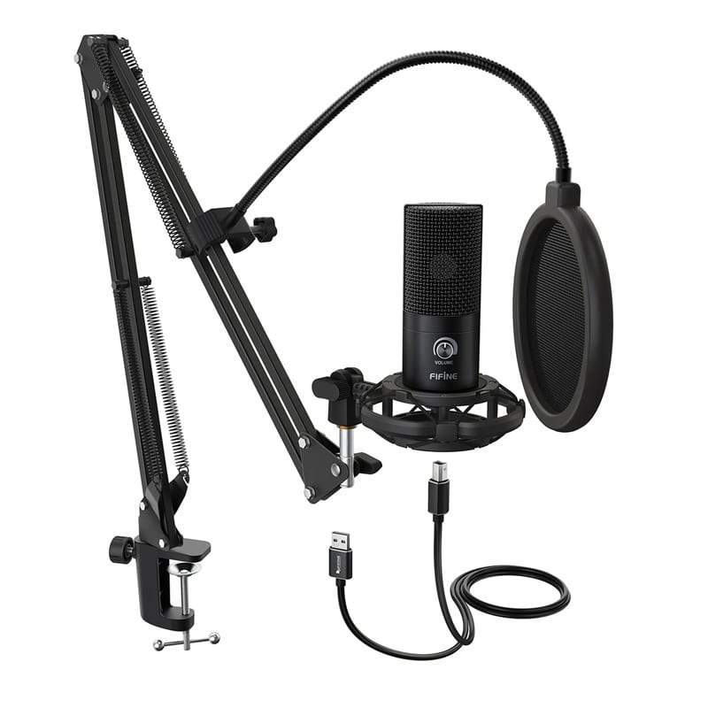 Fifine T669 Cardioid USB Condensor Microphone Arm Desk Mount Kit - Black Snatcher Online Shopping South Africa