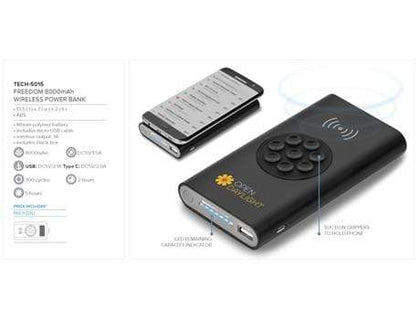 Freedom 8000Mah Wireless Power Bank Black Snatcher Online Shopping South Africa