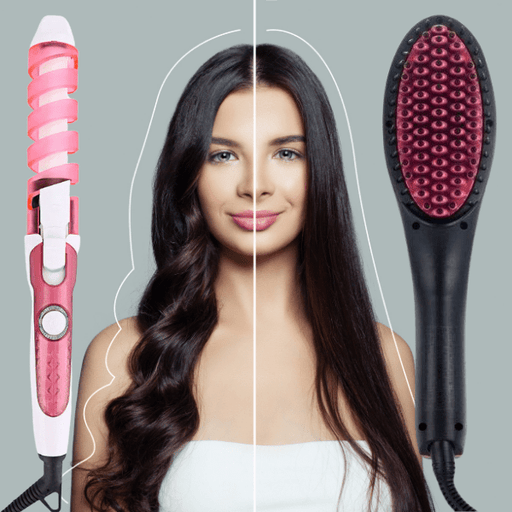 Hair Styling Combo: Ceramic Straightening Brush + Curling Iron Snatcher Online Shopping South Africa