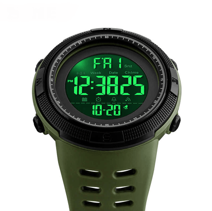 Mens Sport Waterproof Dual Time Watch Alarm Stopwatch - Army Green Snatcher Online Shopping South Africa