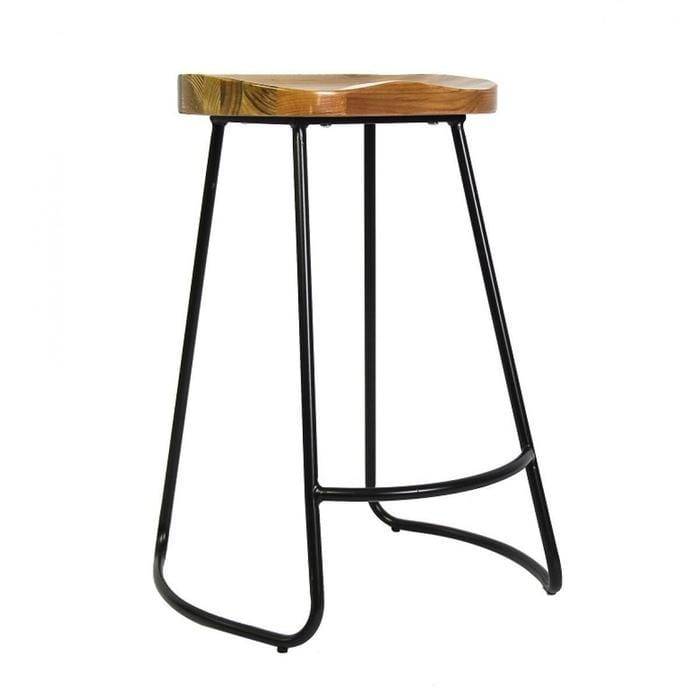 Retro Barstool - Wood Seat Metal frame Snatcher Online Shopping South Africa