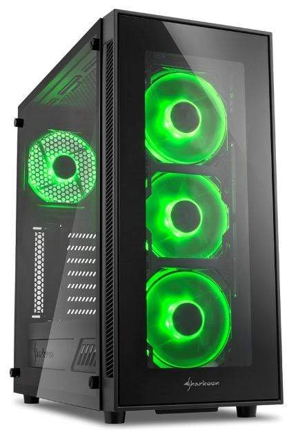 Sharkoon TG5 Window ATX Tower PC Gaming Case Green with Side Window Snatcher Online Shopping South Africa