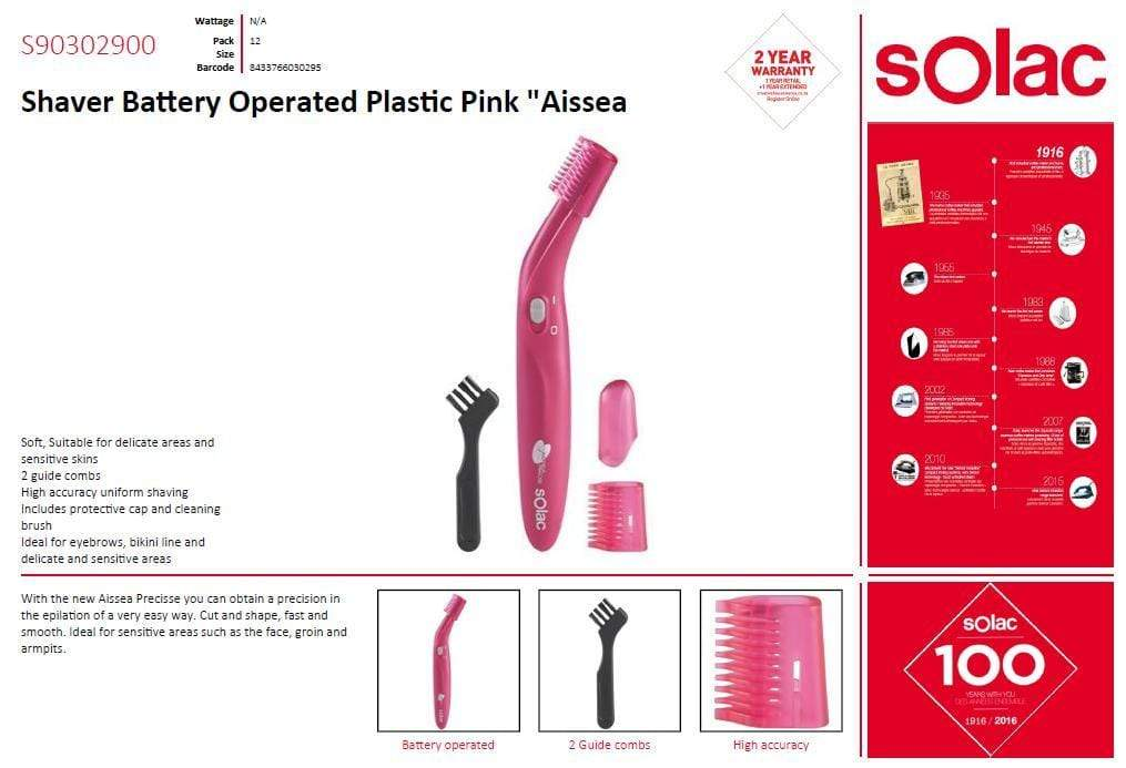 "Solac Shaver Battery Operated Plastic Pink ""Aissea Precisse""# Snatcher Online Shopping South Africa"
