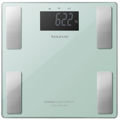 Taurus Bathroom Scale Battery Operated Glass Teal 180kg 3V