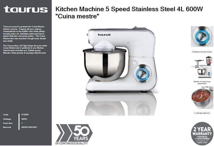 Taurus Kitchen Machine 5 Speed Stainless Steel 4L 600W