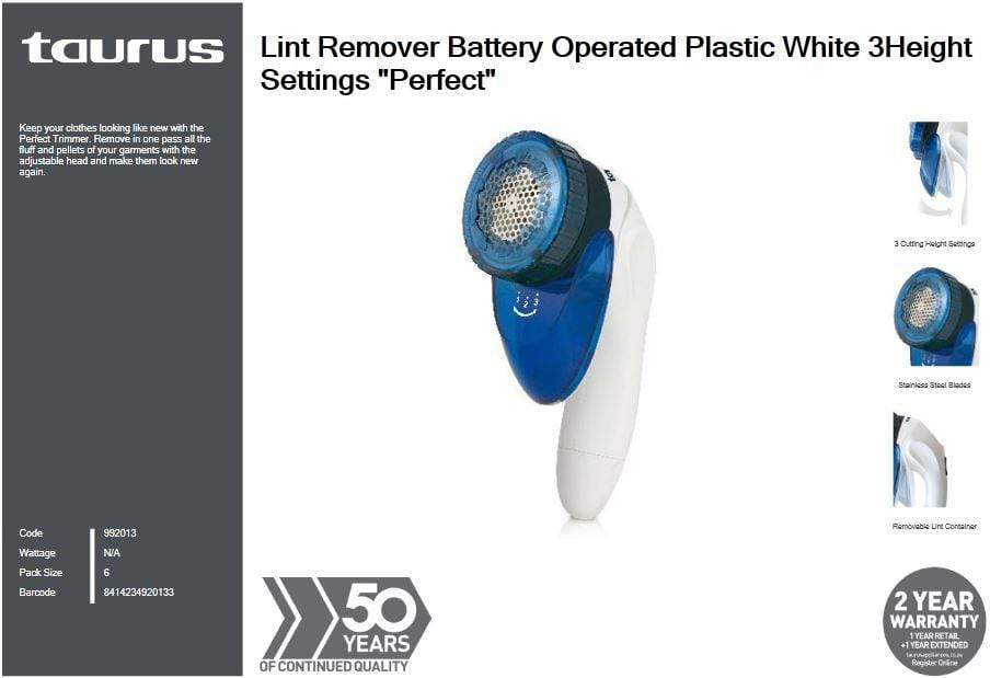 Taurus Lint Remover Battery Operated Plastic White 3Height Settings