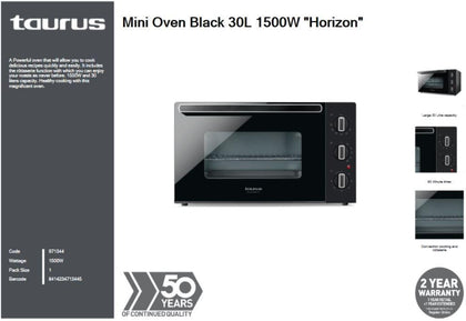 Taurus Mini Oven Black 30L 1500W