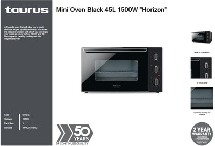 Taurus Mini Oven Black 45L 1500W