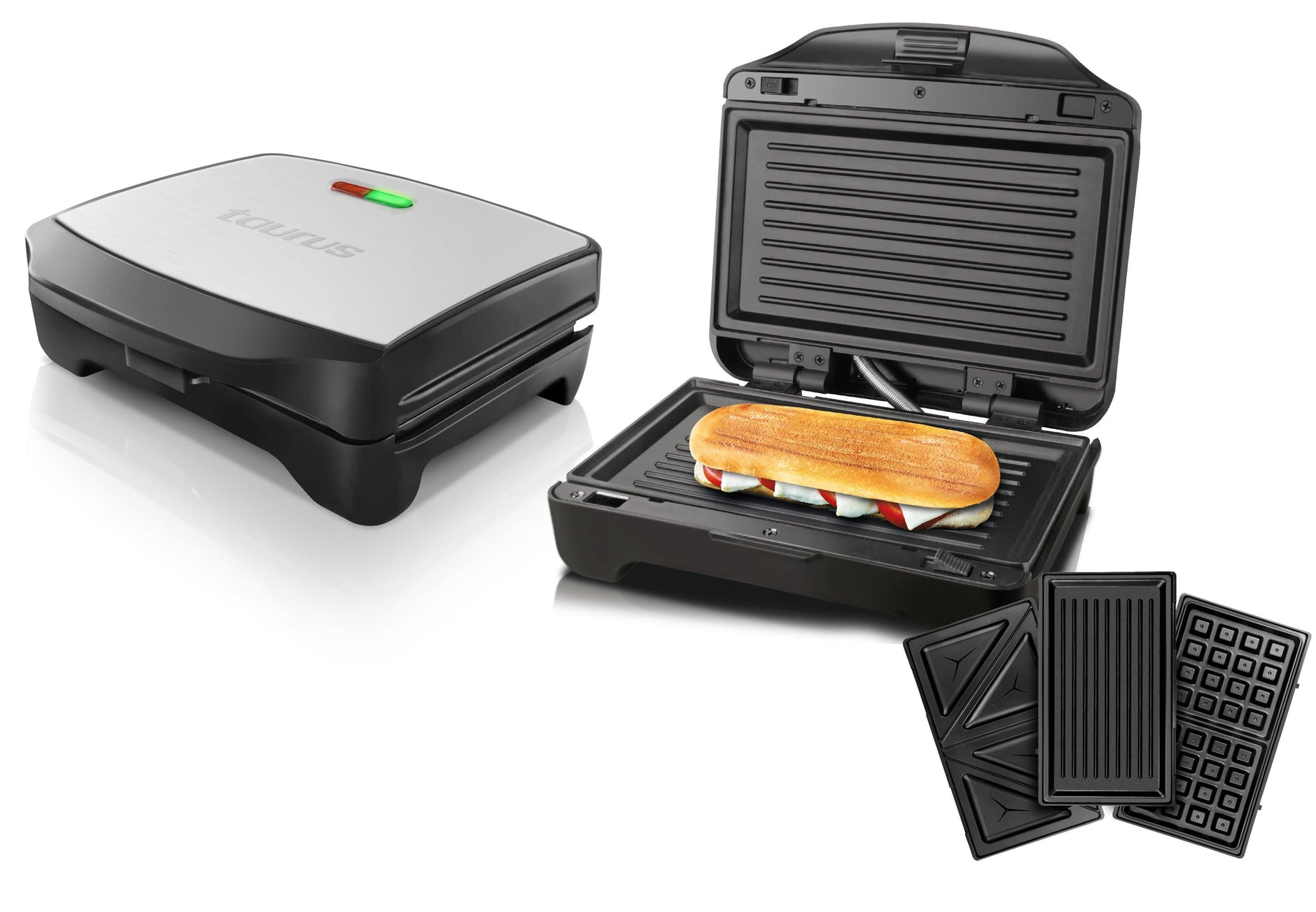 "Taurus Sandwich Maker With Interchangable Plates Non-Stick Black 900W ""Miami Premium"" Snatcher Online Shopping South Africa"