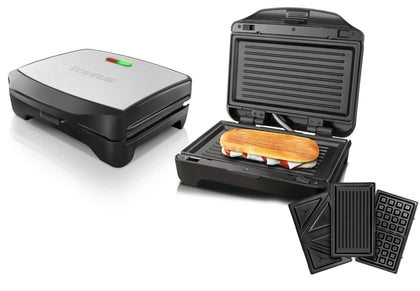 Taurus Sandwich Maker With Interchangable Plates Non-Stick Black 900W