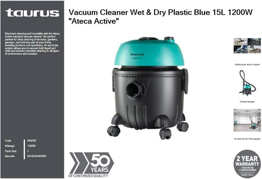 Taurus Vacuum Cleaner Wet & Dry Plastic Blue 15L 1200W