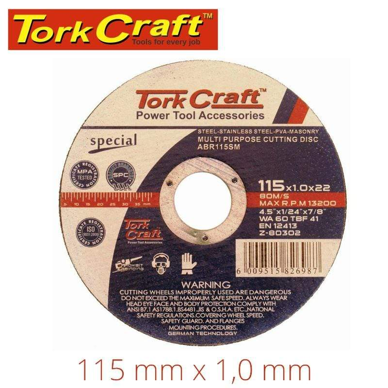 Tork Craft Cutting Disc Multi Purpose 115 X1.0 X 22.2Mm For Steel Ss Pva Stone Snatcher Online Shopping South Africa