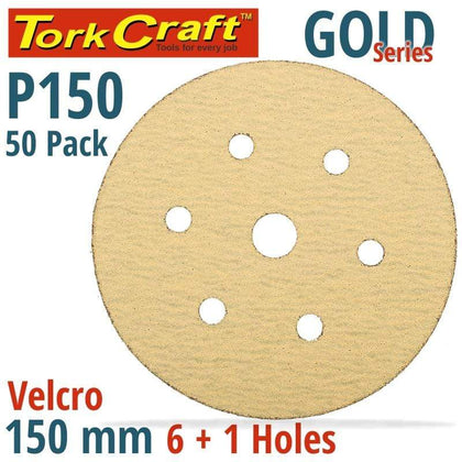 Tork Craft Gold Disc (50 Pieces) 150 Grit 150Mm X 6+1 Holes Hook And Loop Snatcher Online Shopping South Africa