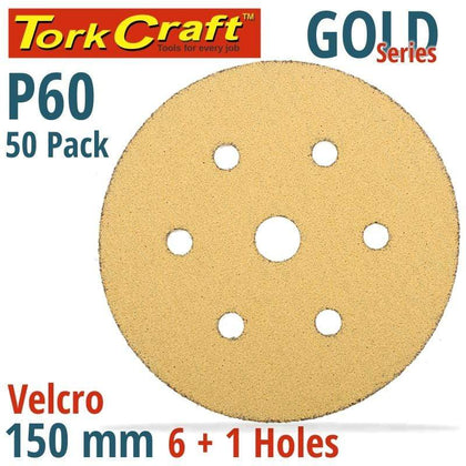 Tork Craft Gold Disc (50 Pieces) 60 Grit 150Mm X 6+1 Holes Hook And Loop Snatcher Online Shopping South Africa