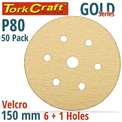 Tork Craft Gold Disc (50 Pieces) 80 Grit 150Mm X 6+1 Holes Hook And Loop Snatcher Online Shopping South Africa