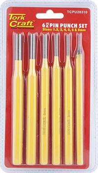 TORK CRAFT PIN PUNCH SET 6PC - 1.5, 3, 4, 5, 6, 8MM YELLOW Snatcher Online Shopping South Africa