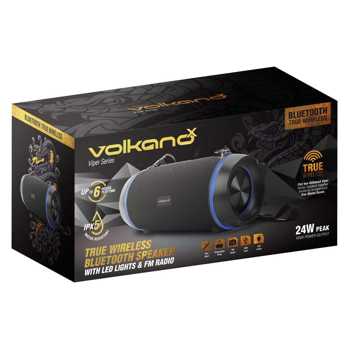 VolkanoX Viper Series Bluetooth Speaker - Black Snatcher Online Shopping South Africa