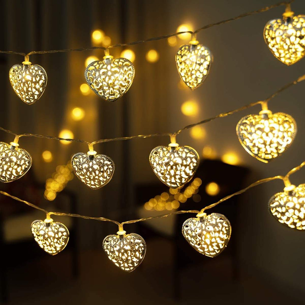 White Metal LED Heart Fairy Lights 2m Snatcher Online Shopping South Africa