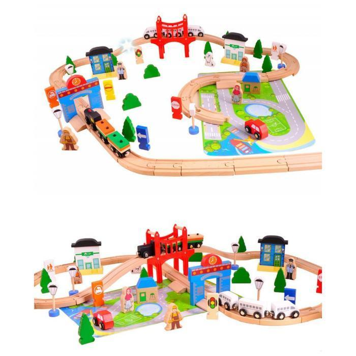 Wooden Train Set - Busy Town - 80 Piece Snatcher Online Shopping South Africa