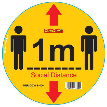 YELLOW 1M DBL ARROW - 300MM ROUND SOCIAL DISTANCING GRAPHIC Snatcher Online Shopping South Africa