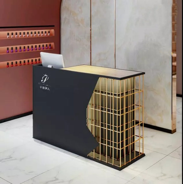 Gold Caged Counter Cashier Table