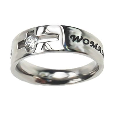 Ladies Silver Cross Christ Ring