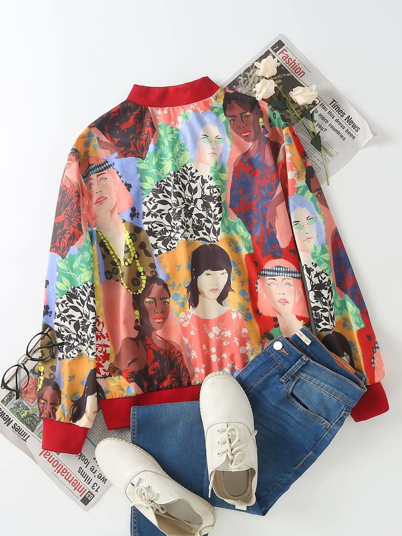 Women Human Print Design Jacket