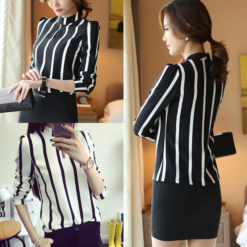 Ladies Black and White Striped Blouse
