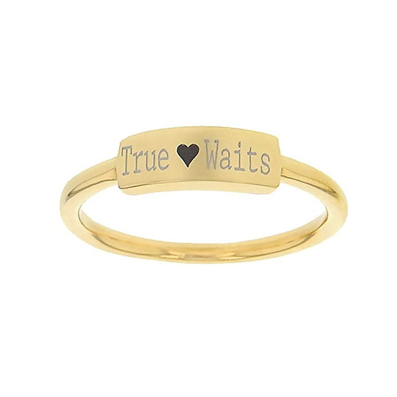 Ladies True Love Waits Gold Christ Ring