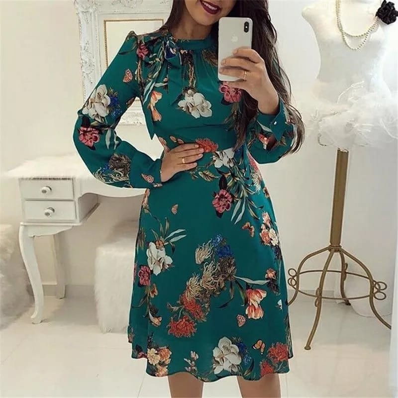 Women Floral Dress Long Sleeve
