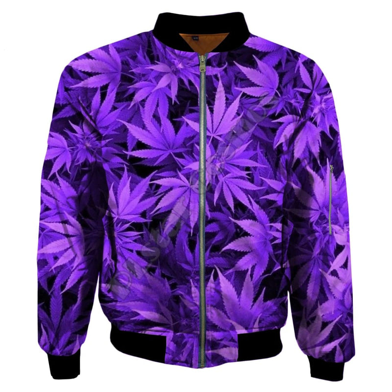 Men Purple Leave Bomber Jacket