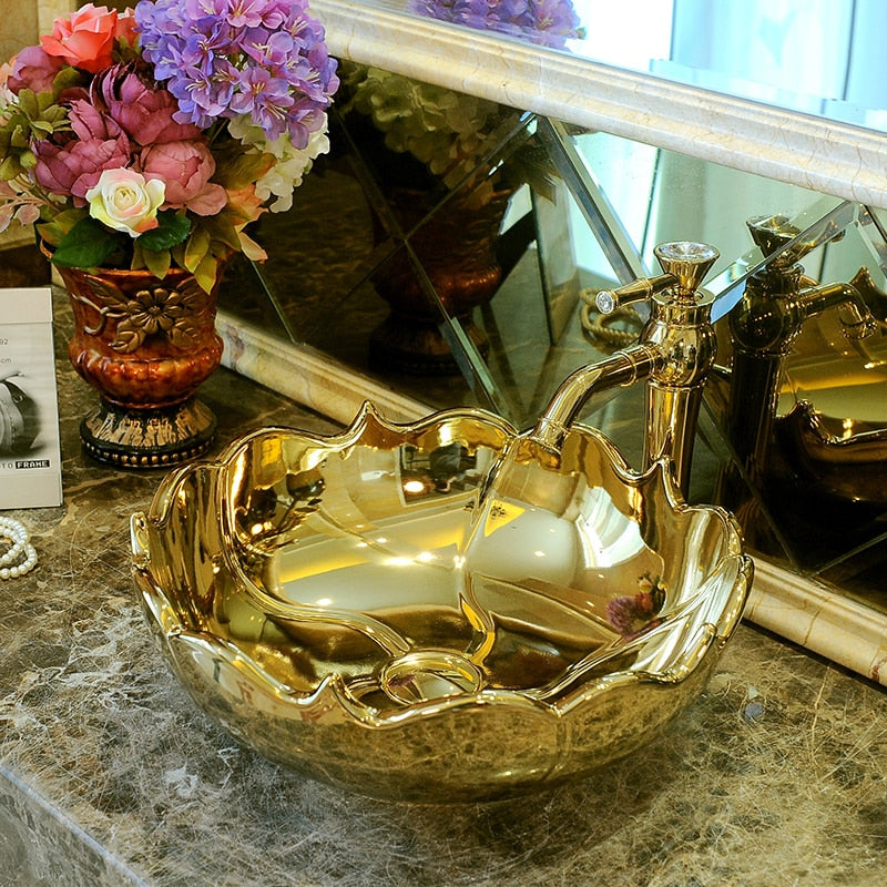 Gold Flower Shape Basin