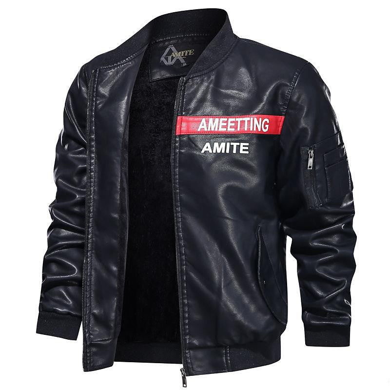 Men Slim Collar Motorcycle Jacket