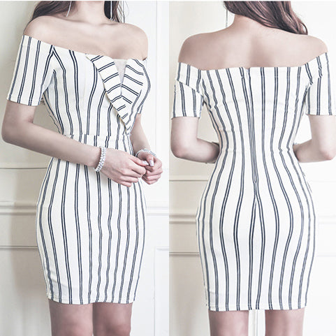 Striped Off Shoulder Bodycon Dress
