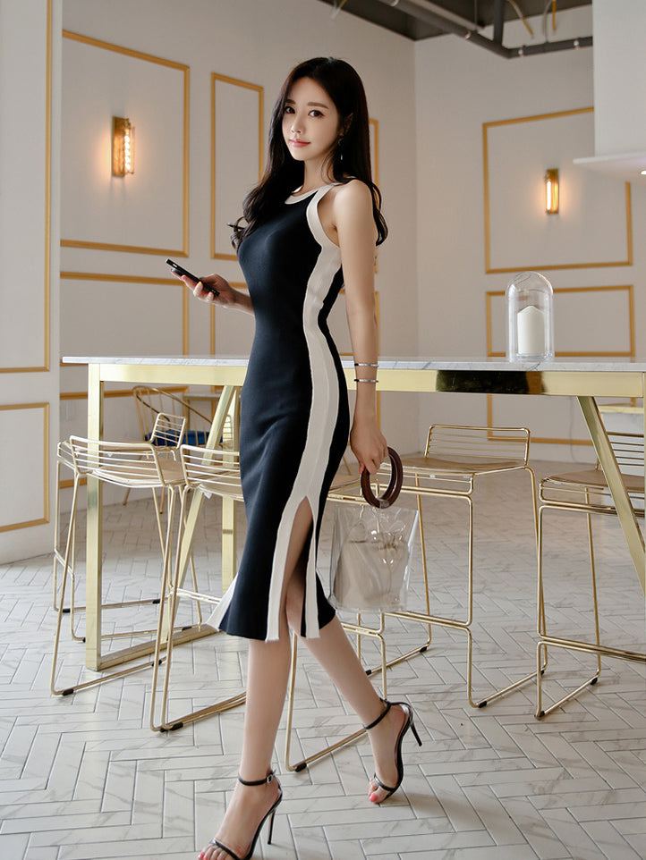 Contrast Sleeveless Knitted Dress