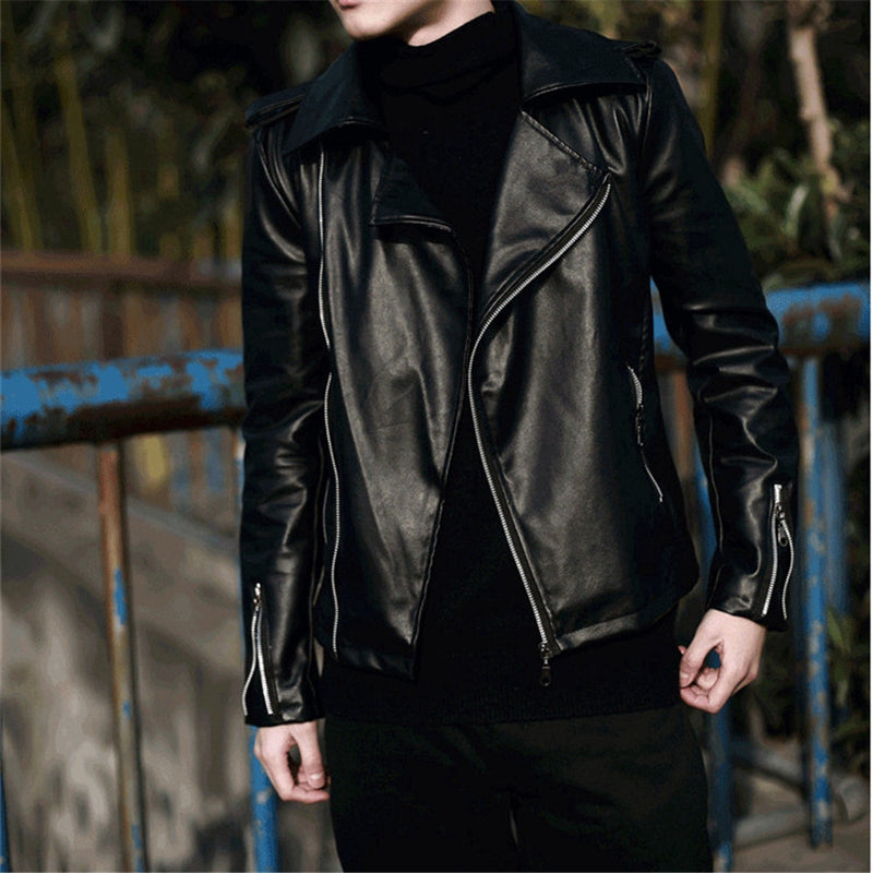 Men Black Motorcycle Jacket